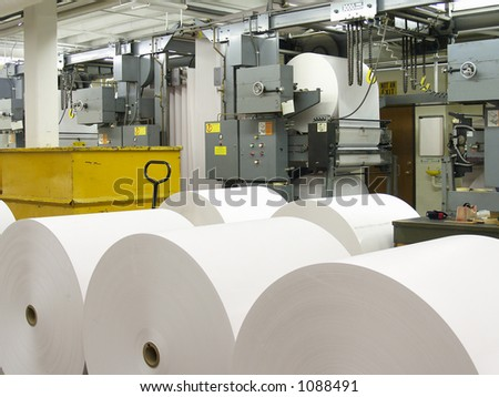Paper rolls and part of printing press
