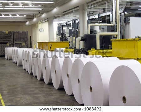 Paper rolls lined up for use on printing press