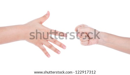Paper,scissors, stone - hands isolated on white background