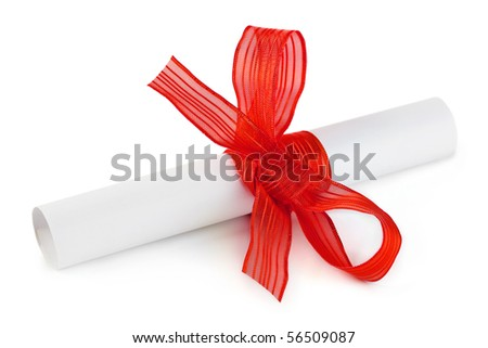 Paper scroll and bow isolated on white background