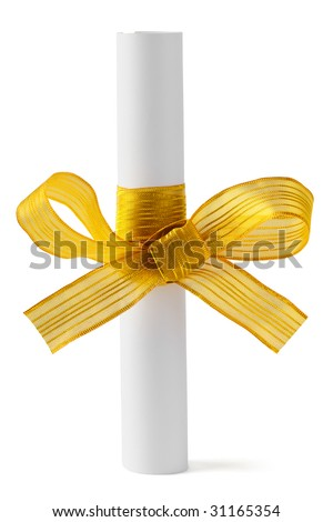 Paper scroll and gold bow isolated on white background