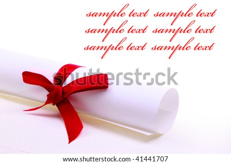 Paper scroll and red bow isolated on white backgrou