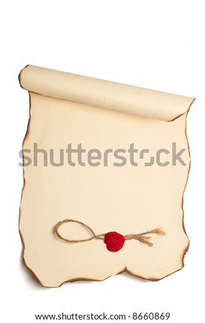 Paper scroll with with burned edges and stamp isolated on white