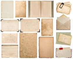 Paper sheet, book, envelope, photo frame with corner isolated on white background. Set of scrapbook elements