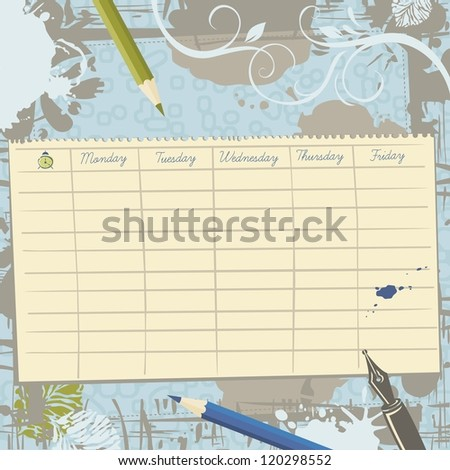 Paper sheet with school timetable template on vintage background