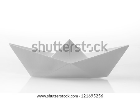 Paper ship - stock photo