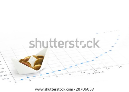 Paper ship carrying money along the finance diagram