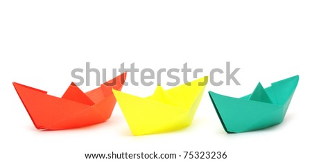 paper ship isolated on white background #75323236