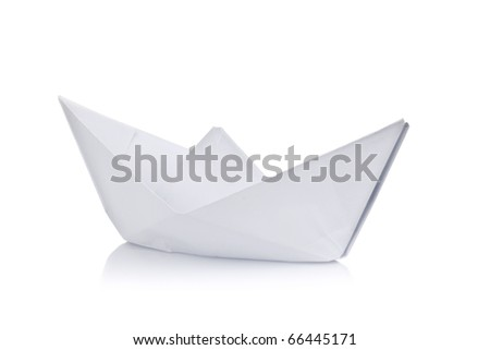 Paper ship on white background