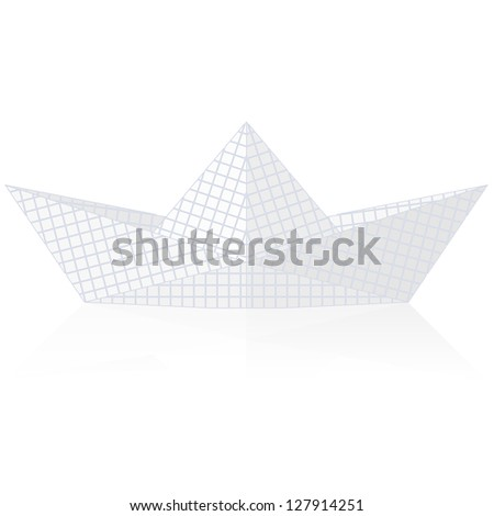 Paper ship origami isolated on white background.  illustration