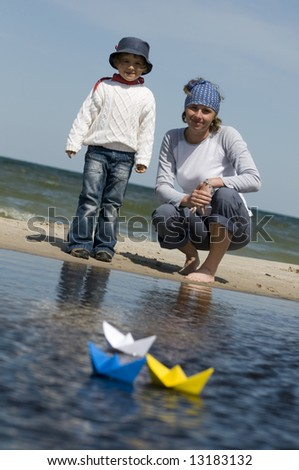 Paper ship race - stock photo