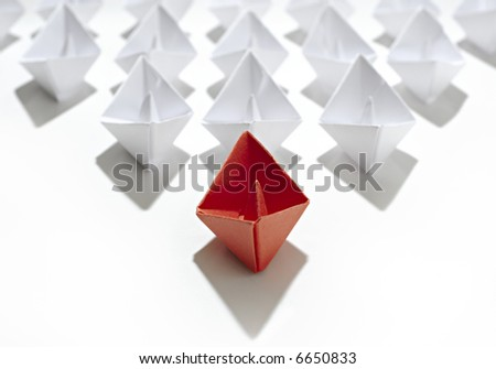 paper ship team - stock photo