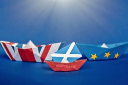 paper ship with british UK and Scotland  flag, concept independence referendum, relations between London and Edinburgh