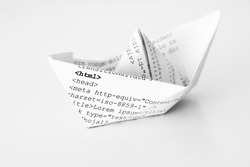 Paper ship with html code.