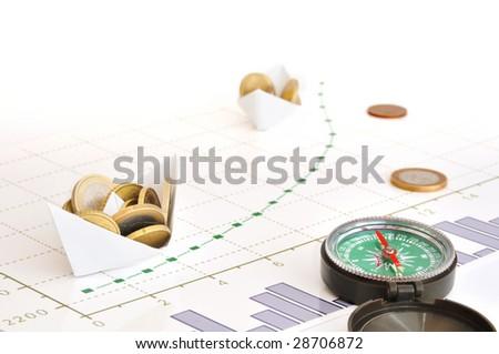 Paper ships carrying coins along growing financial diagram