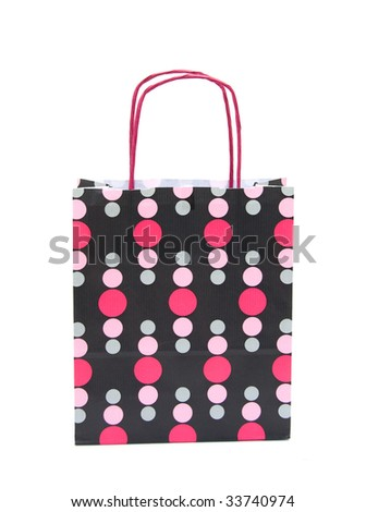 Paper shopping bag with dots on white
