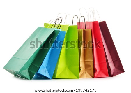 paper shopping bags isolated on ...