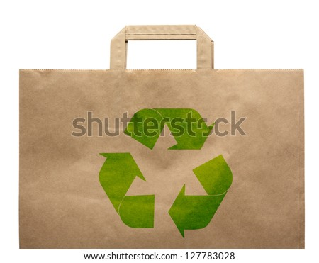 Paper shopping eco bag with handle isolated over white background.