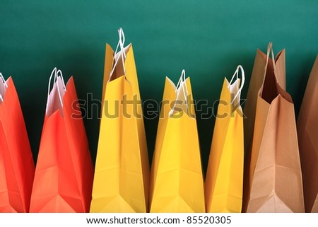 woman shopping gift bags isolated