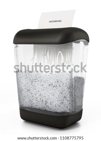 Paper shredder full of shredded paper. 3D illustration. Foto stock ©