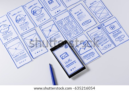 Paper sketches for mobile interface design. Designing responsive content for mobile website