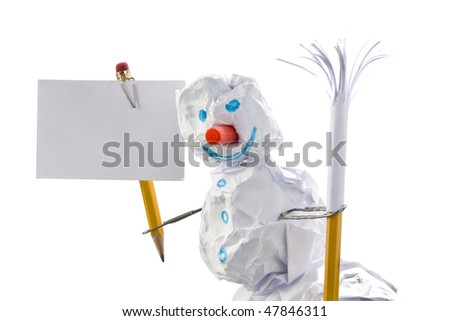 Paper snowman with sign. Office jokes. Isolated on white