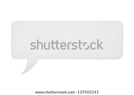 Paper speech bubble isolated on white