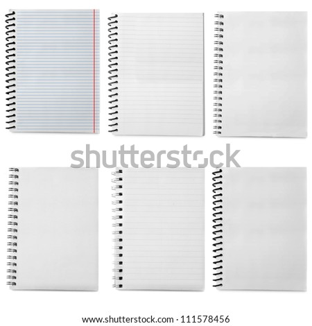 paper spiral notebooks isolated on white
