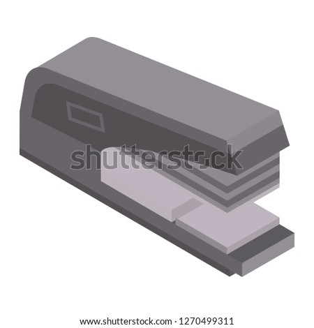 Paper stapler icon. Isometric of paper stapler icon for web design isolated on white background