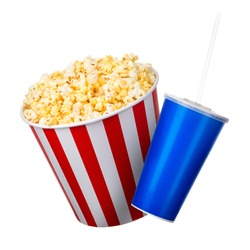 Paper striped bucket with popcorn and cup of soft drink isolated on white background, movie night concept or watching TV.