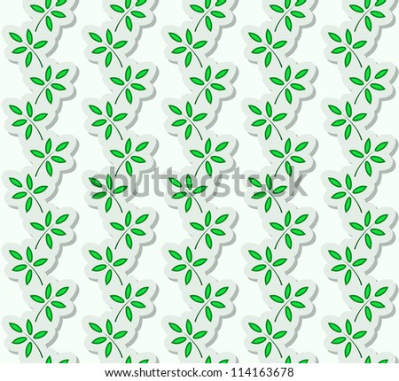 Paper stripes with stylized green leaves, seamless pattern. Vector version available in my portfolio