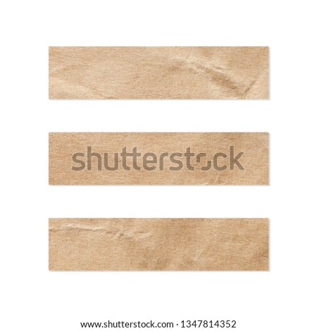 Paper tag set. Close up of a piece of note paper on white background. Piece of newspaper on white with clipping path.