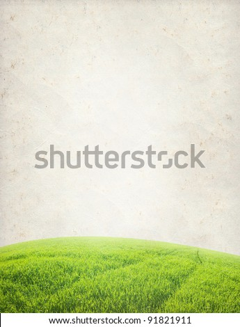 paper texture. Green field in grunge and retro style