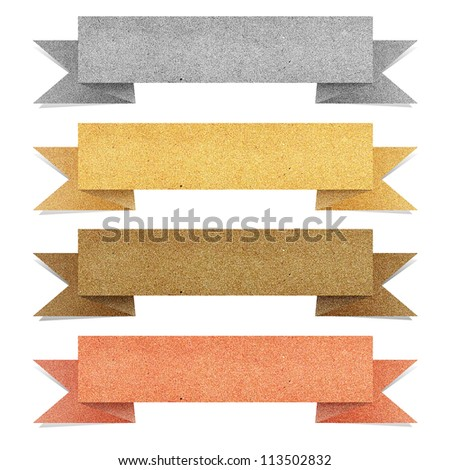 Paper texture ,Header tag recycled paper on white background