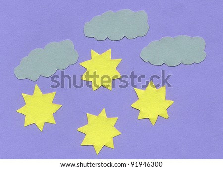 Paper texture with clouds and stars. Hi res