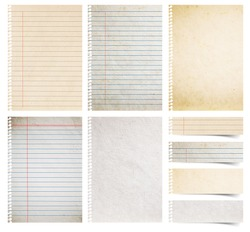 Paper textures background, isolated on white background Save Paths For design work ( paper sheets, lined paper and note paper craft stick )