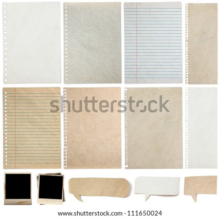 Paper textures background, isolated on white background Save Paths For design work ( paper sheets, lined paper, note paper, photo frame and  paper speech bubble ) stock photo