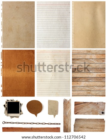 Paper textures background, isolated on white background Save Paths For design work ( paper sheets, lined paper, paper notebook, note paper, paper speech bubble, wood background and plank )