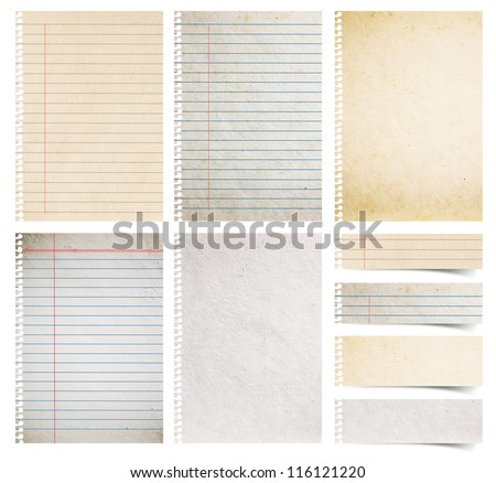 Paper textures background, isolated on white background Save Paths For design work ( paper sheets, lined paper and note paper craft stick ) #116121220