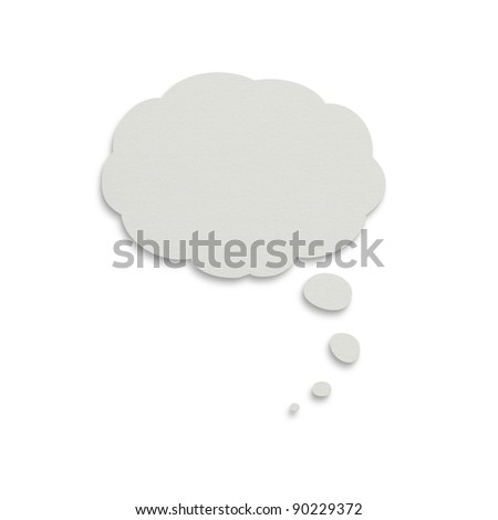 Paper thought cloud isolated on white with clipping path