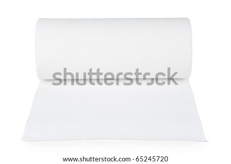 Paper towel. Isolated on white.