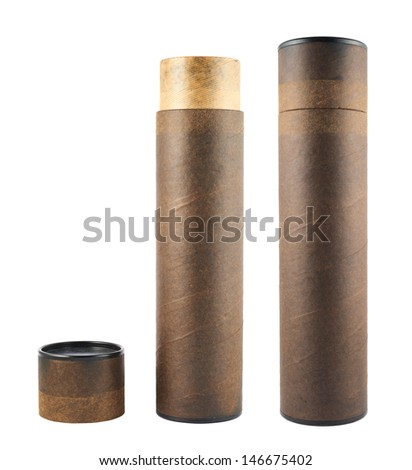 Paper tube made of old brown cardboard isolated over white background, set of two foreshortenings, opened and closed
