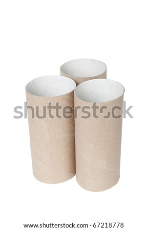Paper tubes isolated on white background