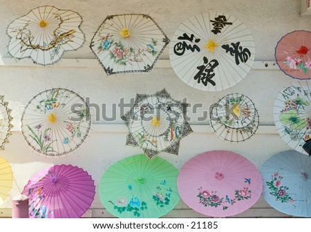 paper umbrellas,Chinatown , Los Angeles, California - stock photo