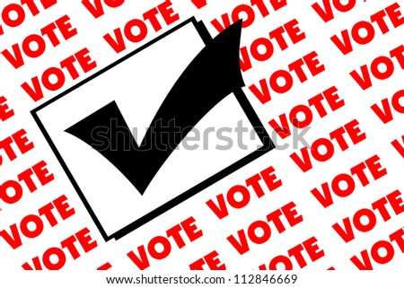 Paper watermarked as a background with the word VOTE in red and a checked box in black.