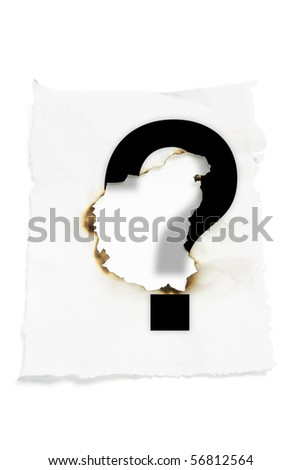 Paper with Burnt Hole on White Background