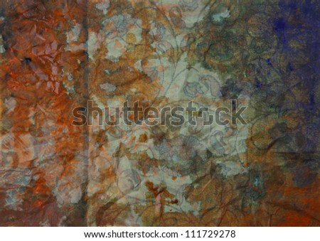 Paper with orange, brown, and violet paint abstract. Abstract border frame with vintage background texture design, luxurious paper or grunge wallpaper