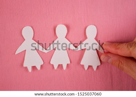 Paper women together. Women power and togetherness concept