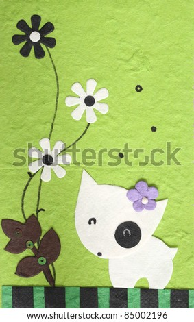 papercraft Dog with flower in green background , my handmade