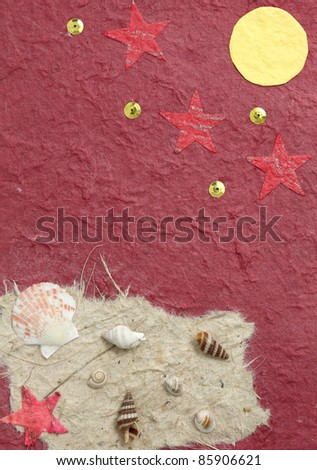 papercraft shell and moon in red background - stock photo